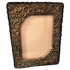 Vintage Ornate Repousse Silver Plate & Velvet Photo Frame