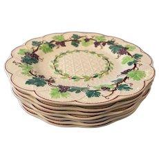 "Gorgeous Set of 6 Antique Majolica Wedgwood 9"" Basketweave Grapes Vines"