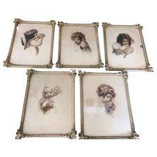 "Fabulous Set of 5 Antique Bessie Pease Gutmann Framed ""5 Senses"" Prints Period Frames"