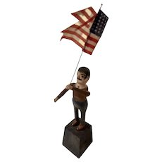 Antique Americana Folk Art Carved Man with Cloth Flag So. Jersey