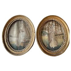 Pair 18th c Georgian Silk Embroidery & Painted Pictures Period Original Frames