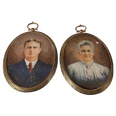 Pair Antique Miniature Portraits Edwardian Travel Frames Custom Cases Signed