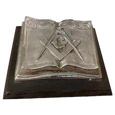 Antique Silvertone Masonic Holy Bible Symbols Paperweight
