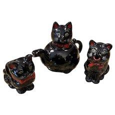 Vintage MIJ Shafford Black Cat 3 Piece Teaset