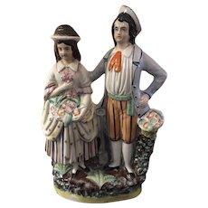 Antique Staffordshire Couple Figure Flatback Pastoral
