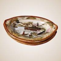 Antique Nippon Geisha Girl Pagoda Nut Dishes