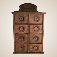 Authentic New England Antique Spice Cabinet