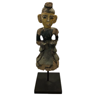 Antique Asian Carved Wooden Painted Religious Figure, Very Early, Mounted, Rare