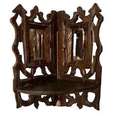 Antique Folk Art Carved Corner Folding Shelf Mirror