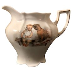 Antique Baby & Pug German Transferware Creamer