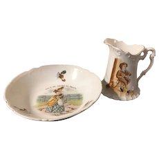3 Pc Antique Nursery Rhyme Children's Porcelain Dishes 2 Pieces