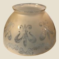 beautiful Antique Frosted & Etched Glass Torchiere Shade