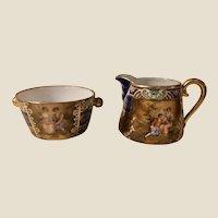 Royal Vienna Ackerman & Fritze Gilded Porcelain Creamer & Sugar