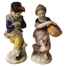 Pair Antique Chelsea Porcelain Miniature Couple