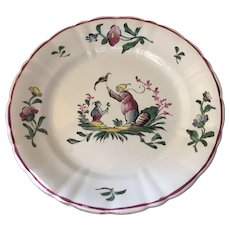 Antique French Faience Plate Orientalia Rare