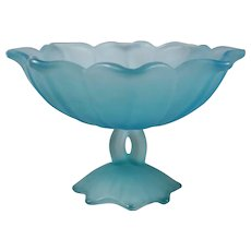 Vintage Westmoreland Glass Co. Powder Blue Satin Glass Compote (LOTUS)