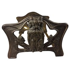 Arts &  Crafts Style Brass Owl Expandable Bookends marked 9776