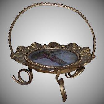 An Exquisite Antique Églomisé Gilt Handled Metal Tray