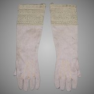 Silk Knit Antique Gloves for a Large Fashion Doll