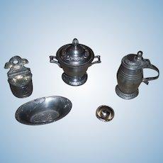 Early 19th. Century Miniature Biedermeier Period Dollhouse German Pewter Tableware