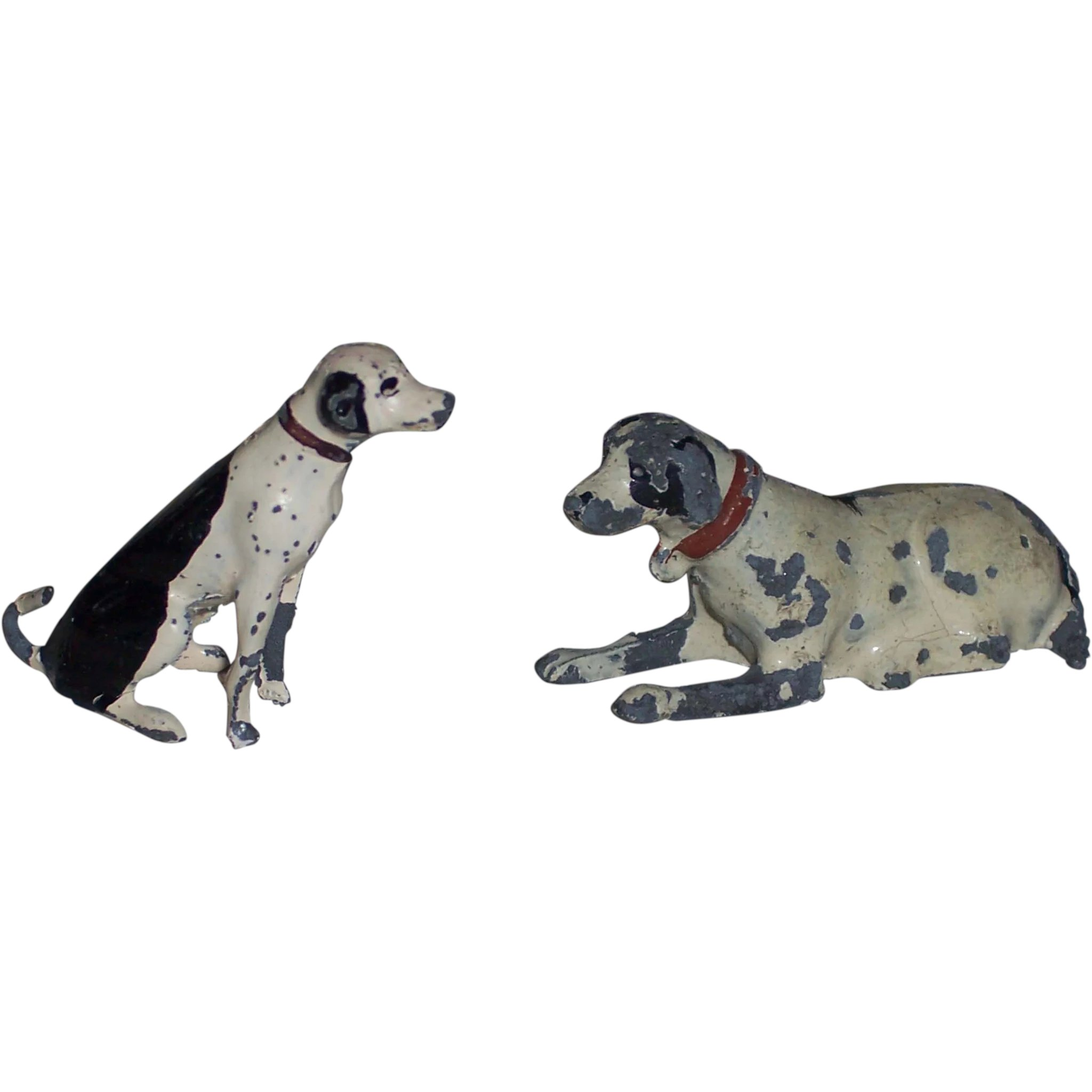 Cold Painted Lead Dollhouse Dogs