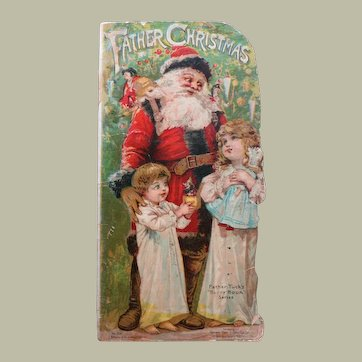 """Rare """"Father Christmas"""" Book from Raphael Tuck's """"Happy Hour"""" Series - 1895"""