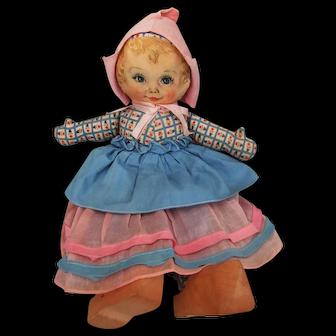 """Darling 15""""  Cloth Maud Tausey Fangel doll All Original 1930's"""