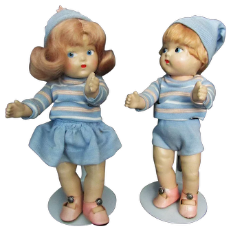 Pair of Vogue Toodles Dolls by Vogue All Original Tagged Outfits 1942-43