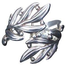 """Large Leaf DesignSterling Cuff Bracelet Marked  8"""""""