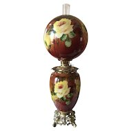 Outstanding Jumbo Victorian Hand Painted Rose Gone with the Wind Oil Lamp
