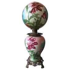 "Stunning Hand Painted Jumbo Gone With The Wind Lamp 12"" Globe"