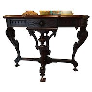 Stunning Victorian Style 19th Century Inlaid Gray Marble Top Table