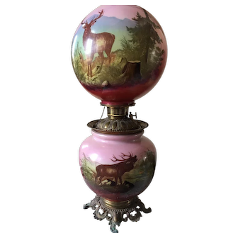 Victorian Gone With the Wind Lamp- Deer and Forest Motif