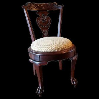 1890's Mahogany Paw Foot Side/Vanity Chair