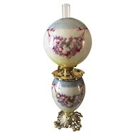 Pittsburgh Floral / Fruit Decorated Gone with the Wind Oil Lamp
