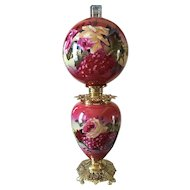 Jumbo Victorian Rose and Fruit Painted Gone with the Wind Oil Lamp