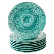 French Gien Majolica Shell Blue Green Teal Oyster Plate Circa 1940, 8 available