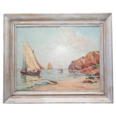 Coastal Nautical Seascape Sailboat Oil Painting