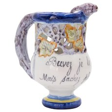 Antique French Faience Puzzle Jug Pitcher
