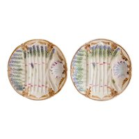 Antique French Majolica Asparagus Plates, a Pair