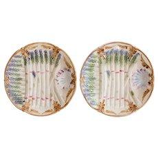 Antique French Majolica Asparagus Plates, a Pair