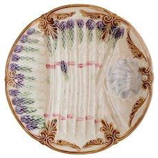 Antique French Majolica Asparagus Plate