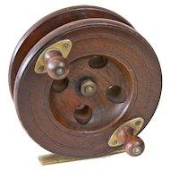 Antique English Walnut Fishing Reel