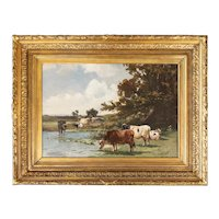 Antique French Landscape With Cattle Watering Oil Painting