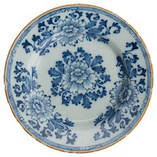 Antique 18th-Century Dutch Delft Floral Plate
