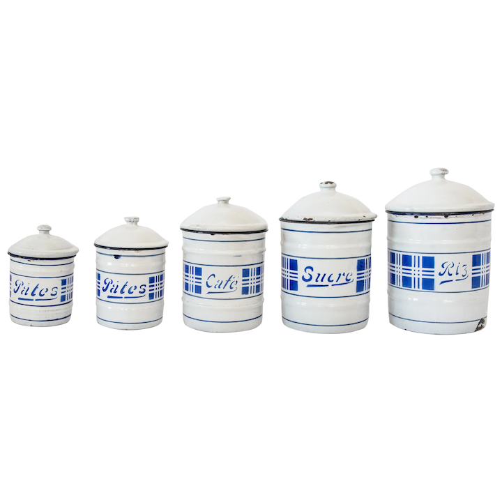 Antique French Enamelware Kitchen Canisters Jars, Set of 5