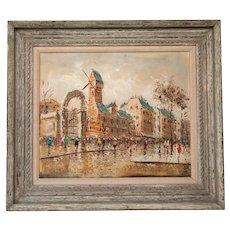 Large Italian Mid-Century Impressionist Cityscape Oil Painting