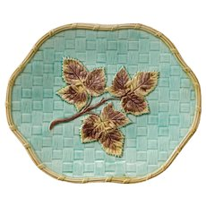 Antique English Leaf & Basketweave Majolica Scalloped Plate Charger