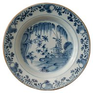 18th-Century Antique Delft Chinoiserie Plate