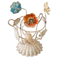 Mid-Century Italian Tole Flowers Plant Holder Planter